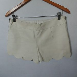 LuLu's Women's Faux Leather Scalloped Shorts